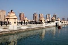 Passerelle à la perle dans Doha Photographie stock libre de droits
