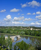 Passerelle antique, fleuve de Rhône, Avignon France Photos libres de droits