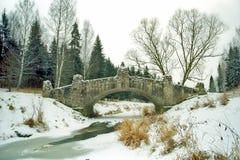 passerelle antique glacée au-dessus du fleuve Photos stock