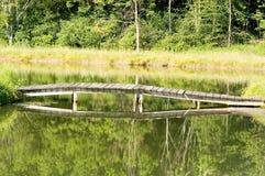 Passerelle au-dessus d'étang   Photo stock