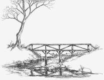 Passerelle au-dessus de fleuve illustration libre de droits