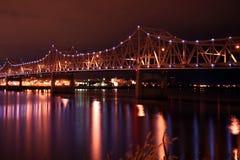 Passerelle au-dessus de fleuve de l'Illinois Photos stock