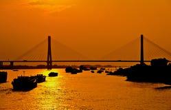 Passerelle au-dessus du fleuve Yangtze Images libres de droits