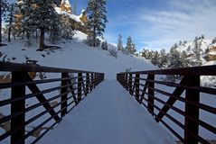 Passerelle couverte de neige en hiver image libre de droits