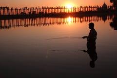 Passerelle d'U Bein, Mandalay photographie stock