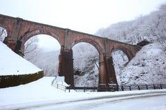 Passerelle dans la neige de l'hiver Photos stock