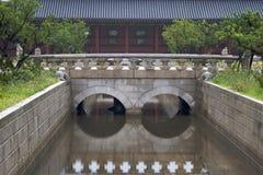 Passerelle dans le palais de Changdeokgung Photos libres de droits