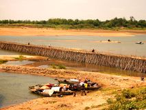 Passerelle de bambou de Mekong Photos libres de droits