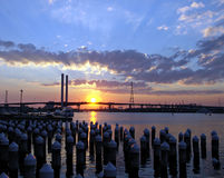Passerelle de Bolte au coucher du soleil Image libre de droits