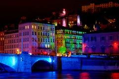 Passerelle de Bonaparte sur le fleuve Saone (Lyon, France) Photos libres de droits