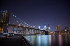 Passerelle de Brooklyn au coucher du soleil images libres de droits
