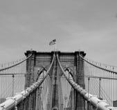 Passerelle de Brooklyn B&W Photographie stock