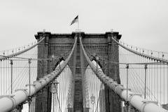 Passerelle de Brooklyn B&W Photographie stock libre de droits