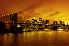 Passerelle de Brooklyn et Manhattan au coucher du soleil, New York Photo libre de droits