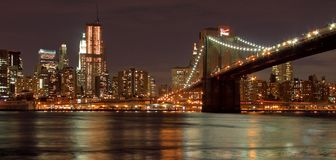 Passerelle de Brooklyn et New York City Photo libre de droits