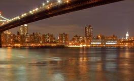Passerelle de Brooklyn et New York City Photos libres de droits