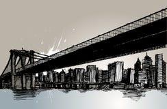 Passerelle de Brooklyn et New York City illustration stock
