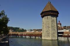 Passerelle de chapelle à Lucerne Photographie stock libre de droits