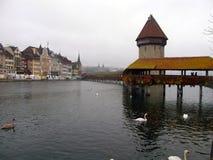Passerelle de chapelle de Lucerne Photos stock