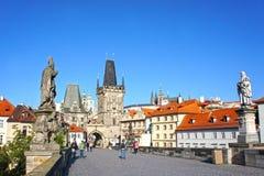 Passerelle de Charles à Prague, République Tchèque Photos libres de droits