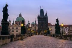 Passerelle de Charles à Prague, République Tchèque Images libres de droits