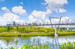 Passerelle de Kelong, voie d'eau de Punggol, Singapour Photos stock
