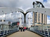 Passerelle de Lowry, quais de Salford, Manchester Image libre de droits