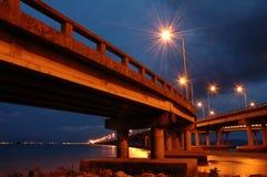 Passerelle de Penang à l'heure crépusculaire Photos stock