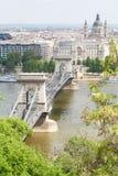 Passerelle de suspension célèbre de Budapest Photographie stock libre de droits