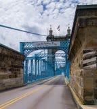 Passerelle de suspension de John A Pont de Roebling Cincinnati, OH image libre de droits