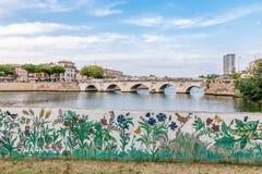 Passerelle de Tiberius à Rimini Images libres de droits