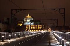 Passerelle des DOM Luis la nuit, Porto Images libres de droits