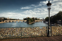 Passerelle des-konster i Paris, Frankrike Arkivbilder