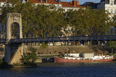 Passerelle du College across Rhone river Royalty Free Stock Image
