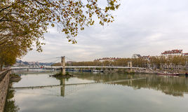 Passerelle du College, a footbridge in Lyon Stock Photos