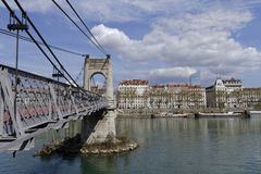 Passerelle du College over Rhone river in Lyon Stock Photography