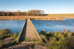 Passerelle en bois au-dessus de l'eau de ondulation bleue Photos stock