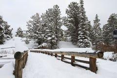 Passerelle en bois couverte dans la neige Images stock