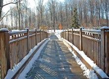 Passerelle en bois de pied après neige Photographie stock libre de droits