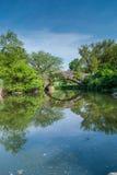 Passerelle en pierre de Central Park Photographie stock