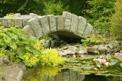 Passerelle et étang ornementaux Image libre de droits