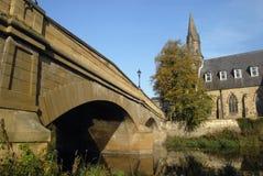 Passerelle et le fleuve Wansbeck, Morpeth de Telford Photo libre de droits