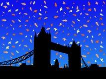 Passerelle Londres de tour en automne illustration de vecteur