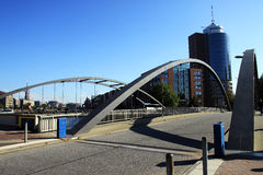 Passerelle moderne (Niederbaumbrücke), Hambourg, allemande Photo libre de droits