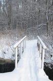passerelle par un flot en stationnement de l'hiver photo stock