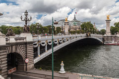 Passerelle Paris France d'Alexandre III Photo libre de droits