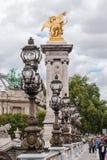 Passerelle Paris France d'Alexandre III Photos libres de droits