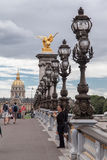 Passerelle Paris France d'Alexandre III Photo stock