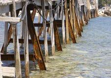 Passerelle rouillée de Cameo Island, baie de Laganas, Zakinthos/Zante, Grèce Photographie stock