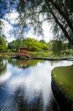 Passerelle sur l'étang de Waihonu Image stock